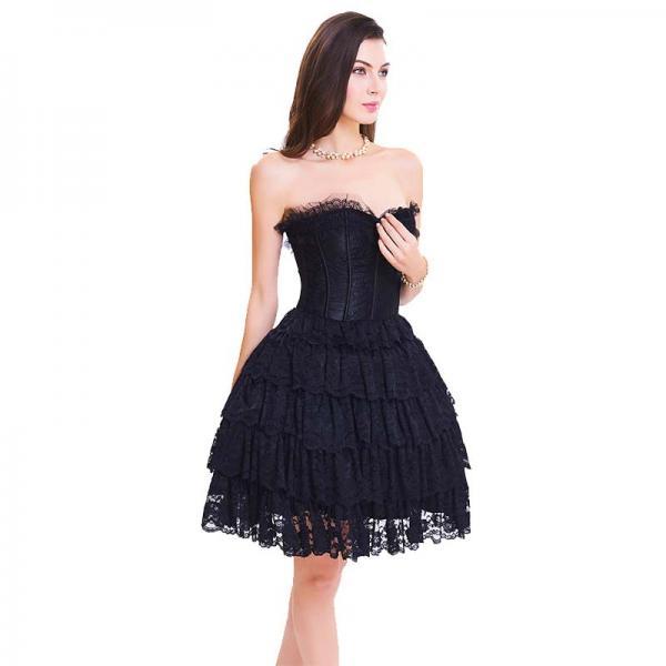 Wholesale Black Lace Steel Bone Corset Dress side