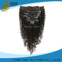 China Real 100% Virgin Hair Clip In Virgin Hair Extensions Kinky Curly Black 6A on sale