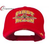 China Red FIRST RECON Embroidered Military Baseball Hats with Velcro wholesale