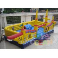 China Big Yellow Pirate Ship Boat Inflatable Games For Rent 0.55 PLATO PVC wholesale
