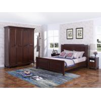 China Rubber Wood Furniture Thailand solid wood King/Queen Bed in Leisure American style with Nightstand and Wardrobe wholesale