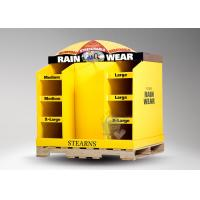 China Six pockets with bright yellow cardboard retail pallet displays for rain wear wholesale