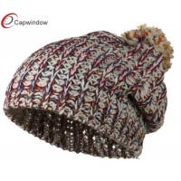 China Cream Women Beanie Winter Hats Acrylic Rainbow Soft Knitted wholesale