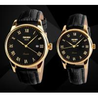 China Skmei Classic Leather Band Waterproof 30m Quartz Lovers Watches Couple Watch 9058 wholesale