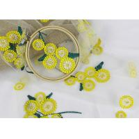 China Beatiful Sunflower 3D Embroidered Lace Fabric For Wedding Garment Decoration wholesale