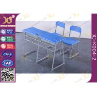 China Colorful Steel Frame Fixed Double School Desk And Chair With Cabinet wholesale
