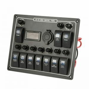 China 10 Gang Waterproof Auto Boat Marine LED AC/DC Rocker Switch Panel Dual Power wholesale
