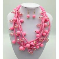 China Fashion Exporting designs Acrylic Bead African Beads Jewelry Set Multi layer Necklace And Earring Set wholesale