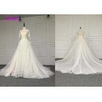China Crystal A Line Ball Gown Wedding Dress / Tulle Long Sleeve Ball Gown Wedding Dress wholesale