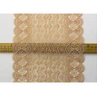 Buy cheap 19 CM Champagne Wide Heavy Guipure Lace Trim With Scallop Edging / African Cord from wholesalers
