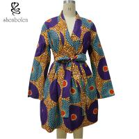 China Long Sleeve Midi African Print Dresses Mix Color Ankara Fabric Spring Autumn wholesale