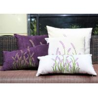 China Velvet Lavender Decorative Cushion Covers Embroidered Sofa Pillow Covers on sale