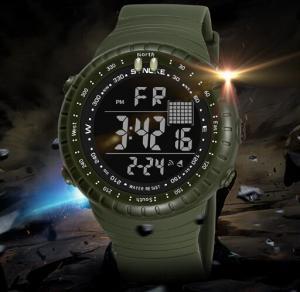 China Synoke Fashion Waterproof 50m Pu Strap Men Outdoor Chronograph Sport Wrist Watches 9648 wholesale