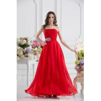 China Attractive Strapless Chiffon Floor Length Evening Dress Party Gown Beads wholesale