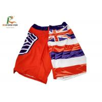 China Beach Style Flag Pattern Men Board Shorts , Swimming Surf Shorts With Sublimation Printing wholesale