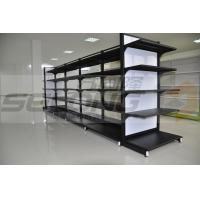 China Double Sided Metal Supermarket Display Racks , Supermarket Gondola Shelving wholesale