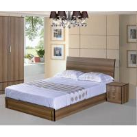 China Cheap style rent Apartment home furniture melamine plate bed 1.2m- 1.5m-1.8 m light walnut color wholesale