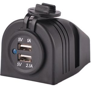 China DC 12V 24V black USB socket charger with black tent housing wholesale