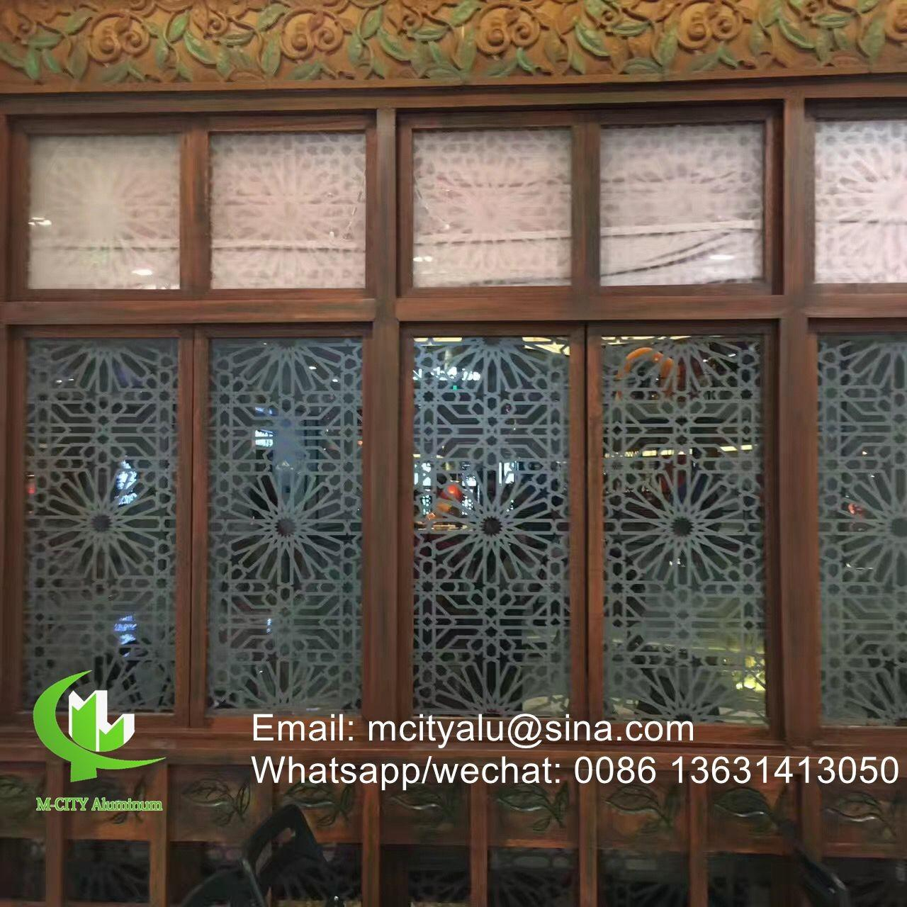 China Aluminum perforated sheet for window screen room divider fence with 2mm thickness laser cut screen wholesale