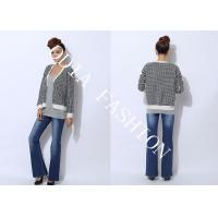 China Fashion V Neck Womens Cardigan Sweaters Printed with Black and White Plaid wholesale