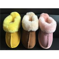 Buy cheap Ladies Genuine Sheepskin Slippers Mules Non Slip Hard Sole Womens winter Warm Slippers from wholesalers