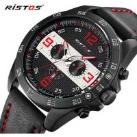 China RISTOS New Men Multifunction Genuine Leather Strap Waterproof 30m Fashion Sport Watches 93016 wholesale
