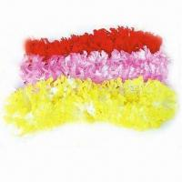 China Hawaiian Flower Leis with 90cm Length, Made of 100% Polyester, Available in Various Colors wholesale