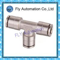 China Pneumatic Tube Fittings T-Tee nickel-plated brass quick coupling PE series on sale
