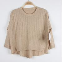 China Autumn girls cable knit Sweaters Special Plaid Back Short Pullover Top wholesale