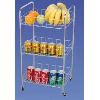 Buy cheap Φ 10 mm 3 TIER Wire Kitchen Food Storage Racks / Shelves, Rolling Storage Cart from wholesalers