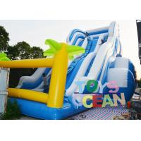China Giant 3 Lanes Tropical Inflatable Water Slide Outdoor Slide For Kid Party Rental wholesale
