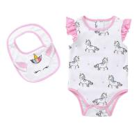 China Unicorn Print 100% Cotton Baby Short Bodysuit With Flutter Sleeve For Summer wholesale