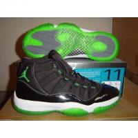 China nike air jordan11 black with green button on sale