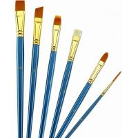 China Wooden Handle Golden Synthetic Paint Brush Sets , Interlocked Fine Bristle Paint Brushes wholesale