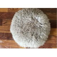 Long Hair Round Mongolian Fur Pillow Light Grey Smooth With Shearling Sheep Fur Lining