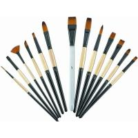 China Brown Round Tip Paint Brush , Acrylic Paint Brushes For Beginners Brass Ferrule wholesale