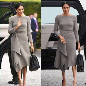 China New Autumn Vintage Dress Grey Good Quality Harry Princess Megan Elegant Chic Midi Dress Long Sleeve Slash Neck wholesale