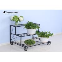 China Removable three layers of simple flower iron multilayer floor type flower pot green space European storage rack wholesale