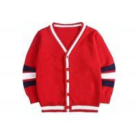 Buy cheap Children Knitted Girls Red School Cardigan Sweater Striped Sleeve Pattern from wholesalers