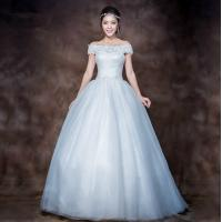 China Elegant 3D Slim Appliques Sweetheart Lace Wedding Dress with Sweep train , white wholesale