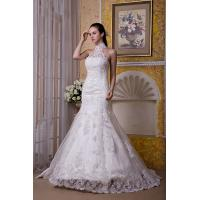 China New Designer Halter Ivory Sweep Train Mermaid Romantic Lace Wedding Gowns With Beads wholesale