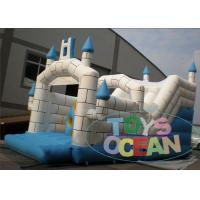 China Outdoor / Indoor Inflatable Castle Blue White Bouncer Combo House With Slide wholesale
