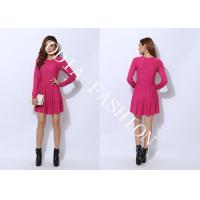 China Red Narrow Waist Ladies Sweater Dresses in Crew Neck with Loose Bottom Hip for Spring wholesale
