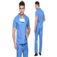 Blue Disposable Scrub Suits , Unisex V Neck Scrubs For Laboratory / Home Care
