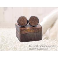 China Men's Accessories Vacation Gifts Black Walnut Wooden Cuff Links with Gift Box, Laser Engraved Logo, Small Order on sale