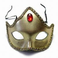 China Golden Mask with Glittery Appearance and Band, Made of Plastic wholesale