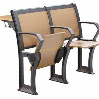 China Foldable Iron Metal Plywood Wooden Desk And Chair Set For School Lecture Hall wholesale