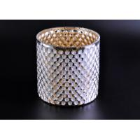 China Create Diamond Shining Votive Glass Candle Holder With Woven Pattern wholesale