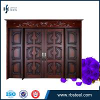 China leffeck european antique style double leaf entry wood doors wholesale