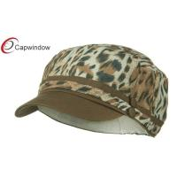 Quality Beige Leopard Print Military Baseball Hats with Elastic Band Closure for sale